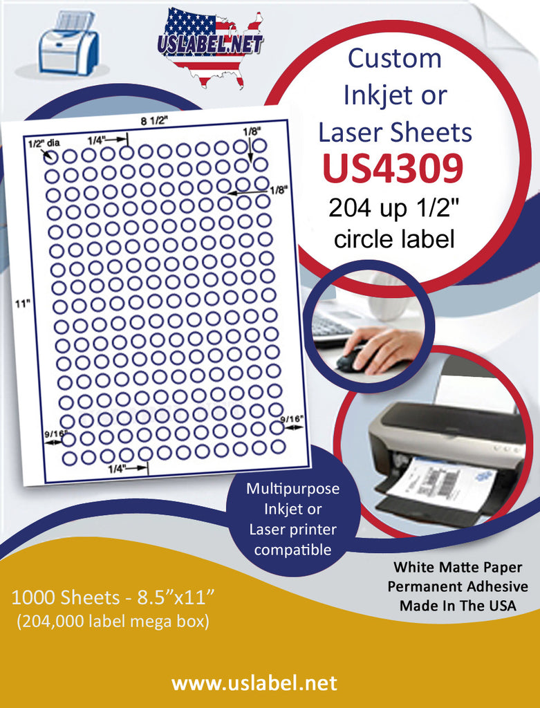 "US4309 - 1/2'' circle 204 up label on a 8 1/2"" x 11"" inkjet or laser sheet."