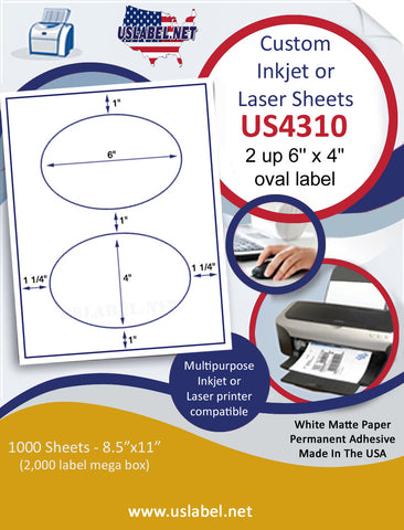 "US4310 - 6'' x 4'' oval  2 up label on a 8 1/2"" x 11"" inkjet or laser sheet."