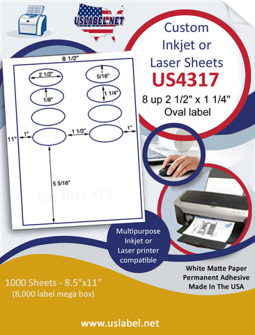 "US4317 - 2 1/2'' x 1 1/4'' 8 up oval label on a 8 1/2"" x 11"" inkjet or laser sheet."