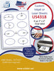 "US4318 - 3'' x 2'' 8 up oval  on a 8 1/2"" x 11"" inkjet or laser sheet."