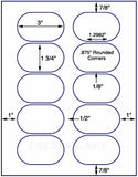 "US4321-3''x1 3/4''Oval 10 up on a 8 1/2""x11"" label sheet."