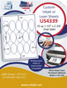 "US4339 - 15 up - 1 1/2'' x 2 3/4'' Oval label on a 8 1/2"" x 11"" inkjet or laser sheet. - uslabel.net - The Label Resource Center"