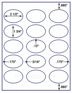 "US4340-2 1/2''x1 3/4''-15 up oval on a 8 1/2""x11"" label sheet."