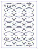 "US4375-2 1/4''x 1''-27 up Oval on a 8 1/2""x11"" label sheet."