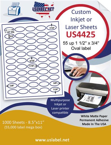 "US4425 -55 up 1 1/2'' x 3/4'' Oval label on a 8 1/2"" x 11"" inkjet or laser sheet."