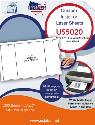 US5020-2 - 1 up 11'' x 17'' - 1,000 labels with 2 vertical Back Scores.