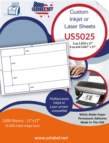 "US5025 -2 up 1.833 x 17"" 2 up and 3.667"" x 17"" - 11'' x 17'' - 4,000 labels."