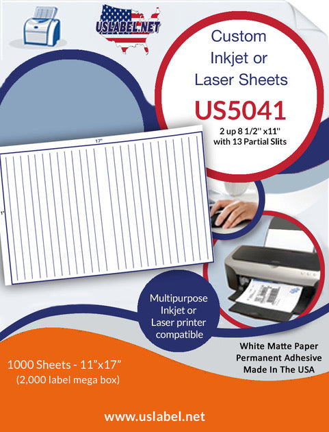 US5041 - 2 up 8 1/2'' x11'' w/13 Partial Slits 1,000 sheets $179.88.