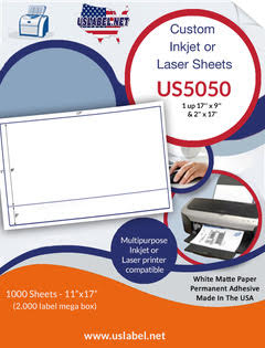 US5050 - 1 up 17'' x 9'' & 2'' x 17'' on the sheet 1,000 sheets - uslabel.net - The Label Resource Center