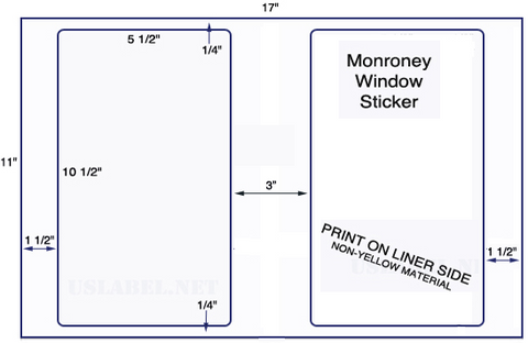 "US5063M - 2 up  5 1/2"" x 10 1/2""  Monroney Window Stickers - 2,000 labels."