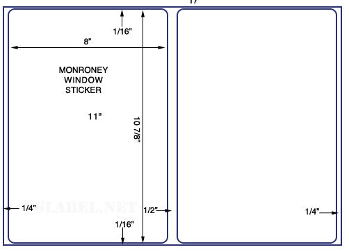 "US5070M  2 up 8'' x 10 7/8'' on a 11"" x 17""  2,000 Monroney Automotive Window stickers"