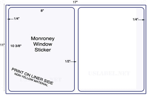 "US5081M - 2 up  8"" x 10 3/8""  Monroney Window Stickers - 2,000 labels."