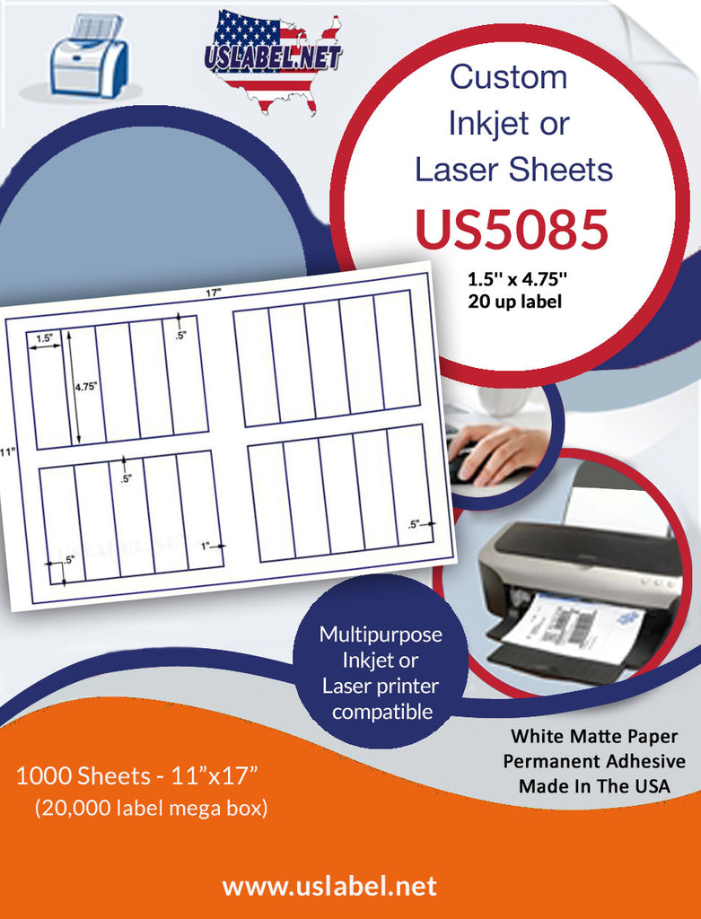 US5085 - 1.5'' x 4.75''  - 20 up label on a 11'' x 17'' sheet 20,000 labels. - uslabel.net - The Label Resource Center