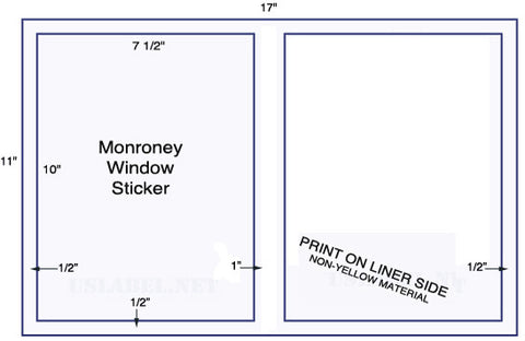"US5101M - 2 up  7 1/2"" x 10""  Monroney Window Stickers - 2,000 labels."