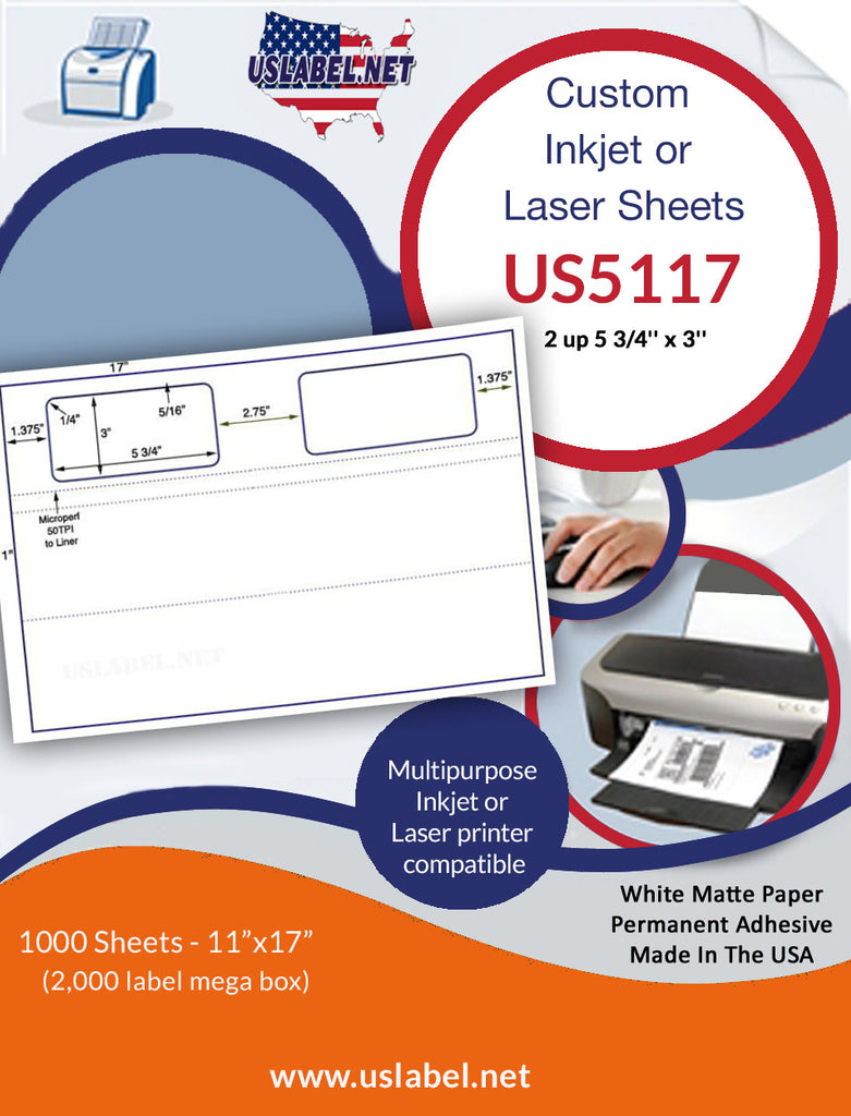 US5117 - 2 up 5 3/4'' x 3'' on a 11'' x 17'' sheet - uslabel.net - The Label Resource Center