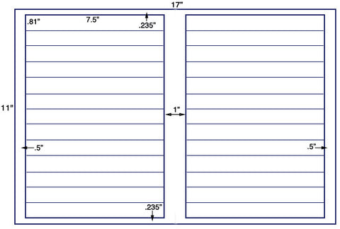 US5132 - 26 up 7.5'' x .81'' on a 11'' x 17'' label sheet