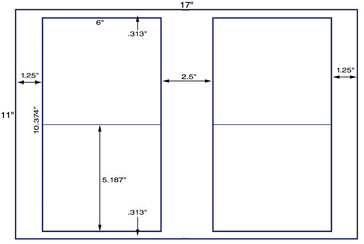 US5192 - 6'' x 5.187'' - 4 up label on a 11'' x 17'' sheet