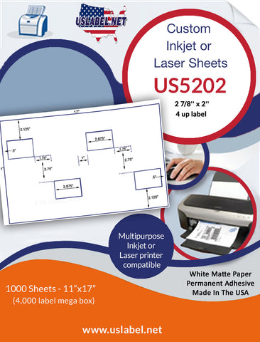 US5202 - 2 7/8'' x 2'' - 4 up label on a 11'' x 17'' sheet