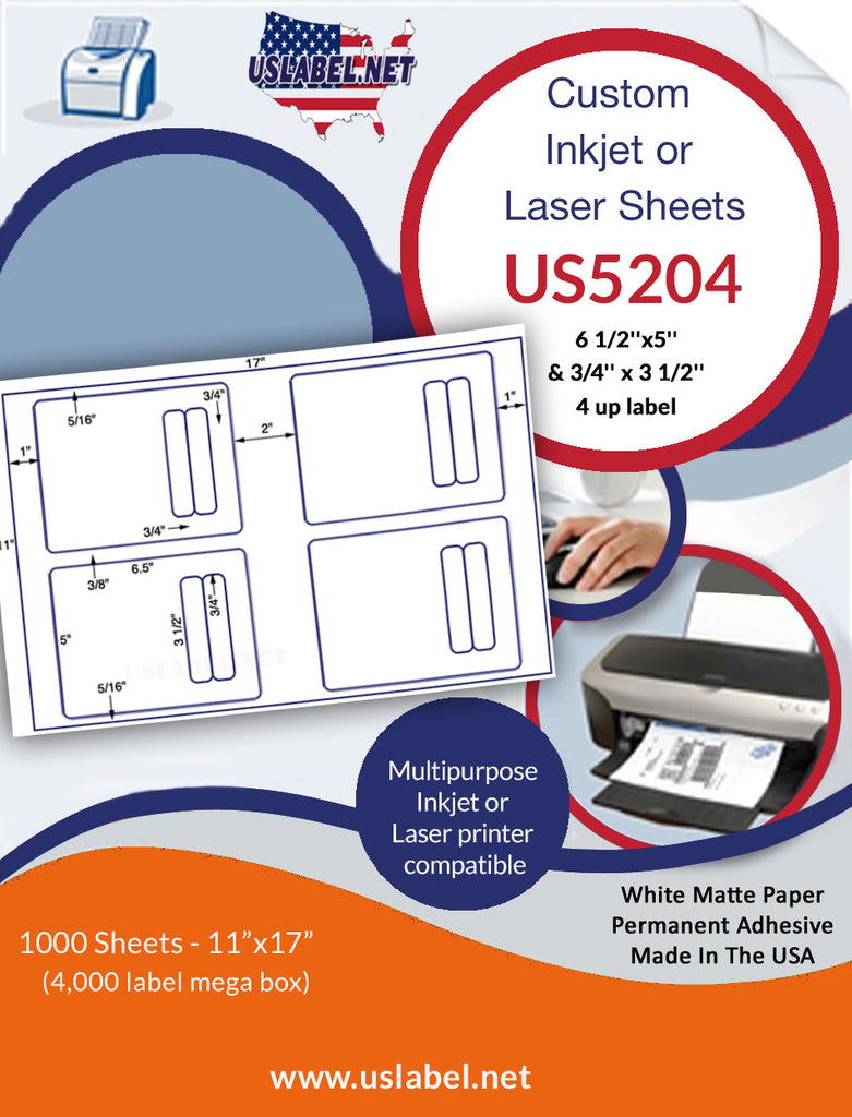 US5204 - 6 1/2''x5'' & 3/4'' x 3 1/2'' - 4 up label on a 11'' x 17'' - uslabel.net - The Label Resource Center