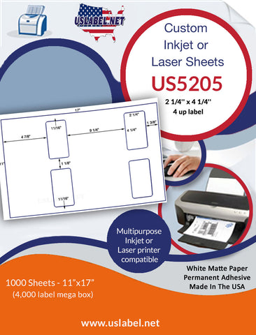 US5205 - 2 1/4'' x 4 1/4'' - 4 up label on a 11'' x 17'' sheet