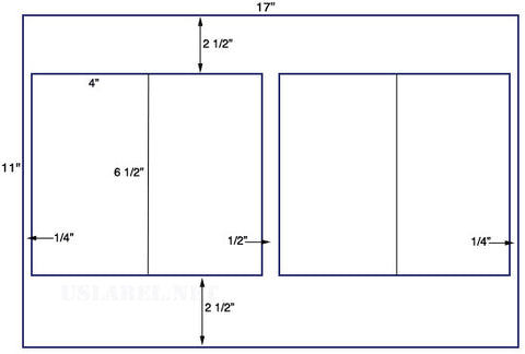 US5207 - 4'' x 6 1/2'' - 4 up label on a 11'' x 17'' sheet
