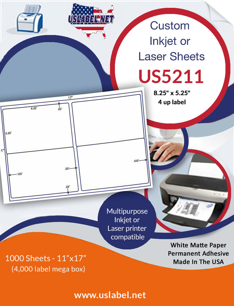 "US5211 - 8.25"" x 5.25"" - 4 up label on a 11'' x 17'' sheet - uslabel.net - The Label Resource Center"