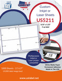 "US5211 - 8.25"" x 5.25"" - 4 up label on a 11'' x 17'' label sheet"