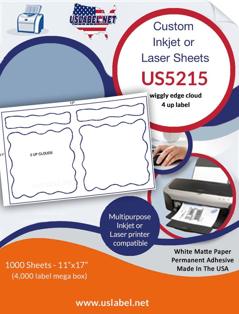 US5215 - wiggly edge - 4 up label on a 11'' x 17'' - uslabel.net - The Label Resource Center