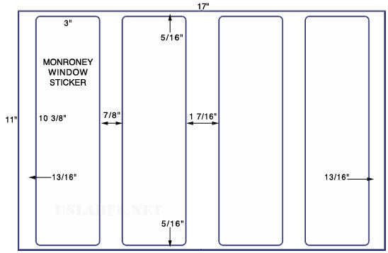 "US5220M - 4 up  3"" x 10 3/8""  Monroney Window Stickers - 4,000 labels."