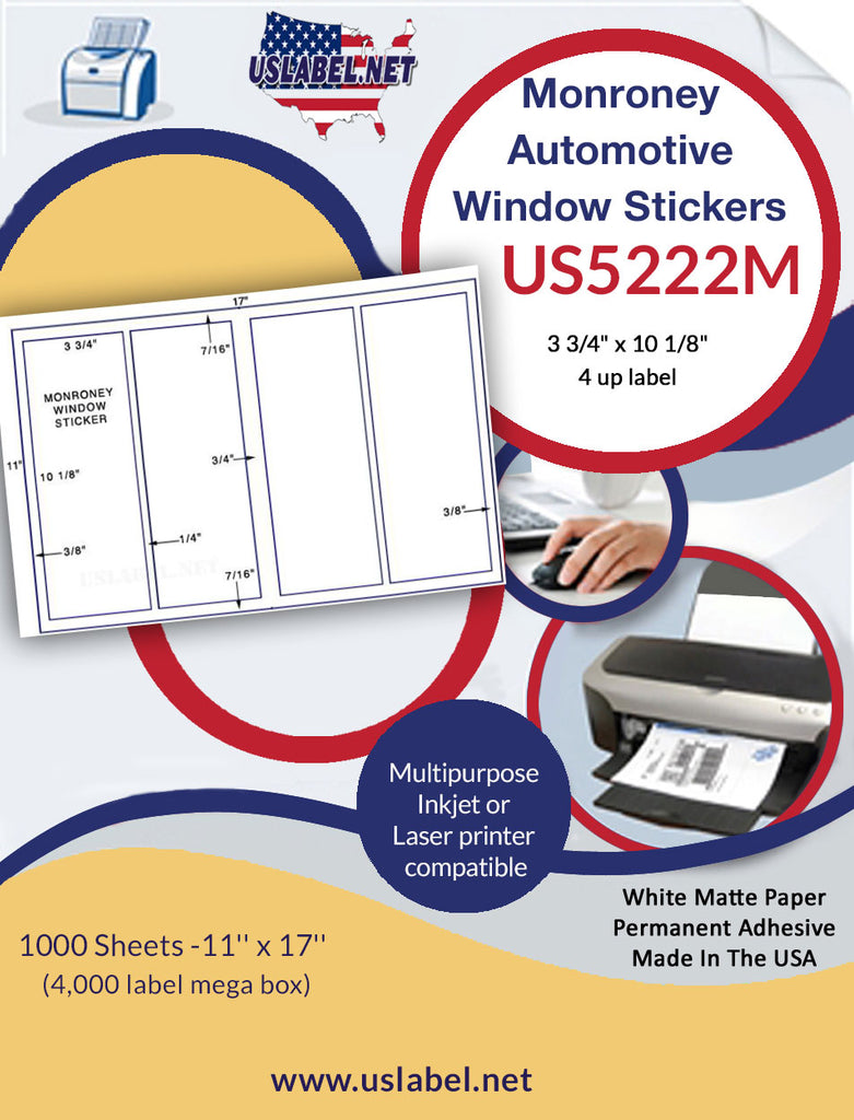 "US5222M - 4 up  3 3/4"" x 10 1/8""  Monroney Window Stickers - 4,000 labels."