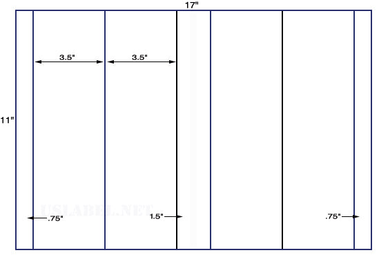 US5225 -  3.375'' x 4.25'' - 4 up label on a 11'' x 17'' sheet