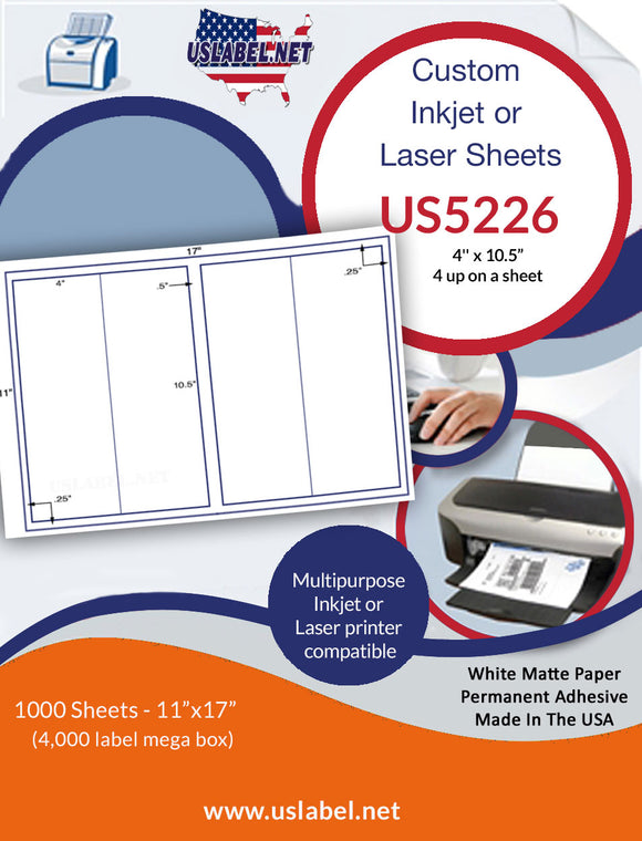 US5226 - 4'' x 10.5'' - 4 up label on a 11'' x 17'' sheet