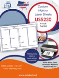 US5230 - 4'' x 8.6'' - 4 up on a 11'' x 17'' label sheet