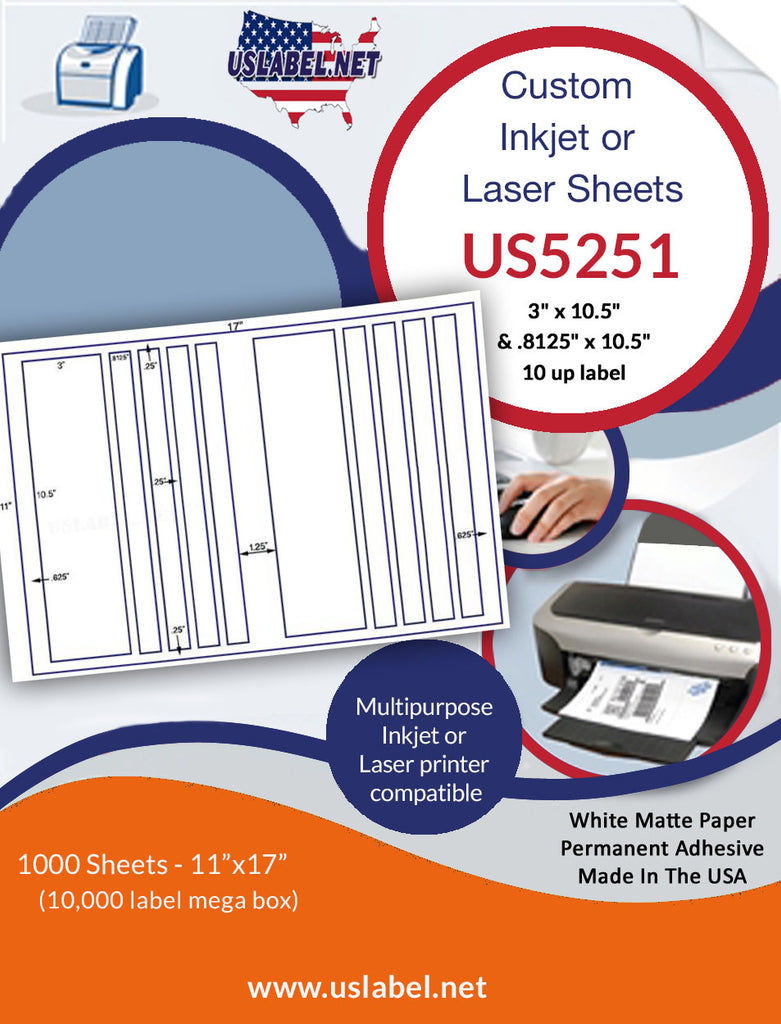 "US5251 - 3"" x 10.5"" and.8125"" x 10.5"" - 10 up label on a 11'' x 17'' sheet. - uslabel.net - The Label Resource Center"