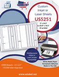 "US5251 - 3"" x 10.5"" and.8125"" x 10.5"" - 10 up label on a 11'' x 17'' sheet."