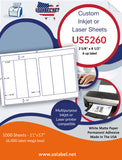 US5260 - 2 5/8'' x 8 1/2'' - 6 up label on a 11'' x 17'' label sheet