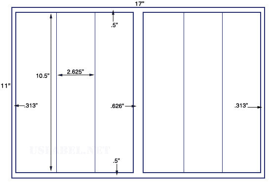 US5262 - 2.625'' x 10.5'' - 6 up label on a 11'' x 17'' sheet