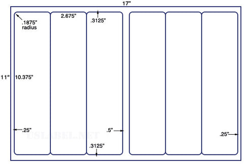 US5263 - 2.675'' x 10.375'' - 6 up label on a 11'' x 17'' sheet