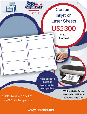 US5300 - 8'' x 3'' - 6 up label on a 11'' x 17'' sheet