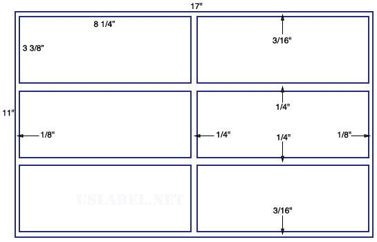 US5319 - 8 1/4'' x  3 3/8'' - 6 up on a 11'' x 17'' sheet