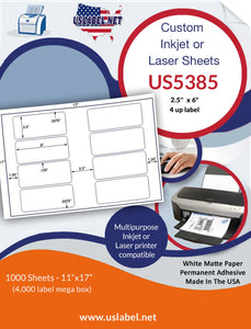 "US5385 - 2.5'' x 6"" - 8 up label on a 11'' x 17'' sheet"