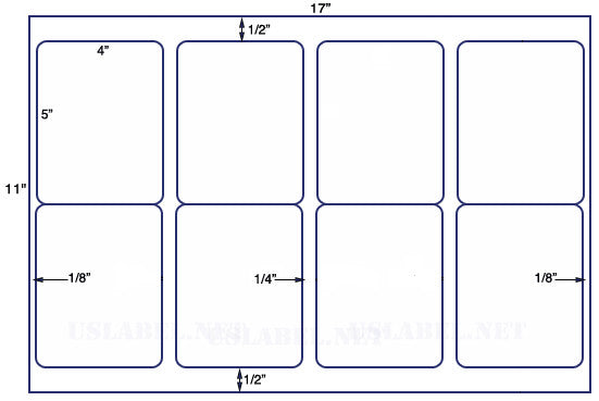 US5437 - 4'' x 5'' - 8 up label on a 11'' x 17'' sheet - 8,000 labels.