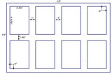 "US5443-3.25""x4.375'' sq. cor. 8 up label on a 11''x17'' sheet."