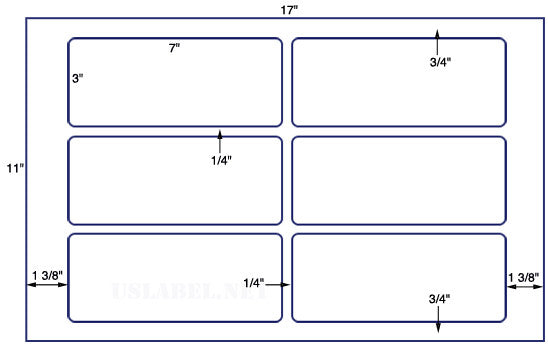 US5444 - 3'' x 7'' with RC 6 up Label on a 11'' x 17'' laser sheet.