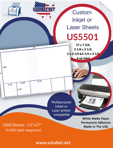 US5501-17''x7 3/4'',3 1/4''x3 1/4''-4 up on a 11'' x 17'' sheet - 4,000 labels