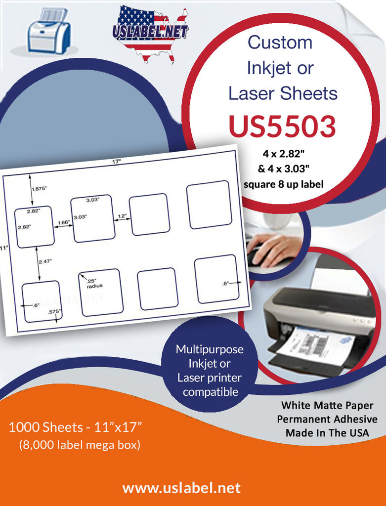 "US5503 - 4 x 2.82"" and 4 x 3.03"" square 8 up on a 11'' x 17'' laser sheet. - uslabel.net - The Label Resource Center"