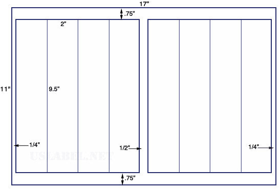 US5525-2'' x 9.5'' - 8 labels on a 11'' x 17''- 8,000 labels