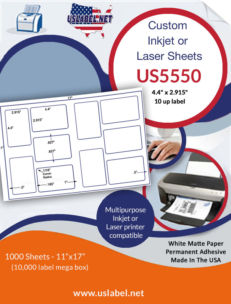"US5550 - 4.4"" x 2.915"" - 10 up label on a 11'' x 17'' sheet - 10,000 labels. - uslabel.net - The Label Resource Center"
