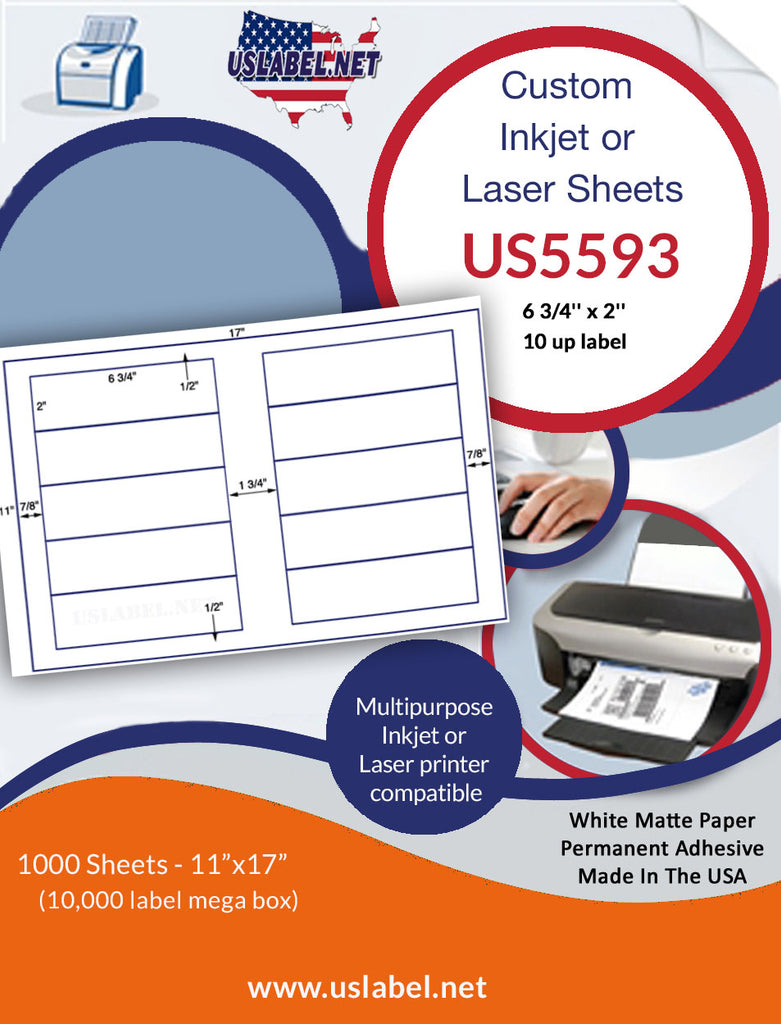 US5593 - 6 3/4'' x 2'' - 10 up label on a 11'' x 17'' sheet - 10,000 labels. - uslabel.net - The Label Resource Center