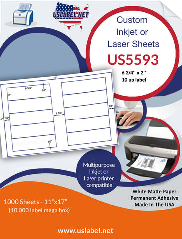 US5593 - 6 3/4'' x 2'' - 10 up label on a 11'' x 17'' sheet - 10,000 labels.